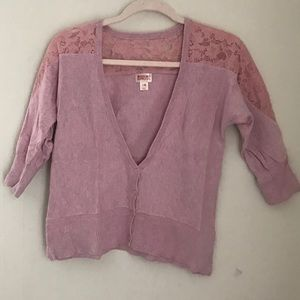 Pink Cardigan With Lace